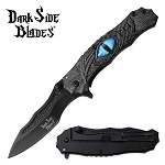 Dark Side Blades Dragon Eye Spring Assisted Pocket Knife Gray Handle