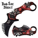 Red Skull Karambit Spring Assisted Knife With Ring Handle