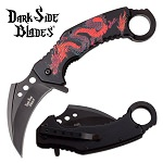 Karambit Knife Spring Assisted Knife Black Red Dragon Pocket Knife