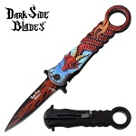 Spring Assisted Knife Red Dragon Pocket Knife