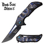 Dragon Pocket Knife Spring Assisted Knife Blue Dragon Handle