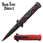 Dragon Pocket Knife Stonewashed Assisted Opening Knife Red Dragon