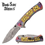 Pocket Knife Gold Skulls Spring Assisted Knife
