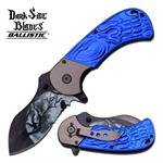 Dark Side Heat Painting Fantasy Blade Spring Assised Knife - Blue Handle