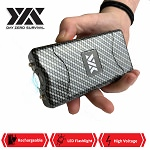 DZS 10 Million Volt Self Defense Carbon Fiber Stun Gun Rechargeable LED FlashLight