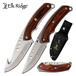 Elk Ridge 2 Pc Gut Hook & Drop Point Blade Hunting Knife Set Pakkawood