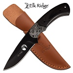 Elk Ridge Fixed Blade Hunting Knife Black Pakkawood Handle