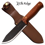 Elk Ridge 10'' Burnt Blade Hunting Knife Cherry Wood Handle Leather Sheath