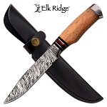 Elk Ridge Damascus Fixed Blade Hunting Knife With Maple Wood Handle