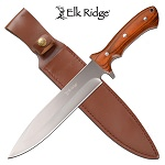 Elk Ridge Hunting Knife 14 Inch Fixed Blade Knife Brown Pakkawood