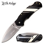 Elk Ridge Pocket Knife Black Pakkawood Handle with Bone Inlays