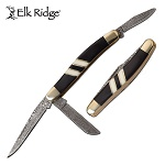 Elk Ridge Damascus 3 Stockman Folding Knife Black Bone Inlay Pakkawood