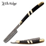 Elk Ridge Damascus Razor Blade Knife Bone Inlay & Black Pakkawood Handle