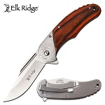 Elk Ridge Spring Assisted Opening Pocket Knife Brown Pakkawood Handle