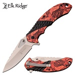 Elk Ridge Pocket Knife Leaf Camo Handle Spring Assisted Knife