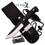 Elk Ridge BushCraft 10.5 Inch Fixed Blade Hunting Knife Black Nylon Fiber Handle
