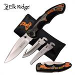Elk Ridge Folding Knife 3 Interchangeable Blade Leaf Camo Nylon Sheath