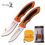 Elk Ridge Fixed Blade Gut Hood Knife and Folding Knife Set with Knife Sharpener