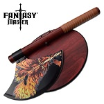 Fantasy Master Fire Dragon Axe With Wooden Plaque