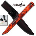 8.5 Inch Overall Survival Knife With Sheath - Red Camo Finish