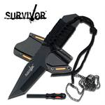 Survivor Black Cord Wrapped Handle Fire Starter Neck Knife
