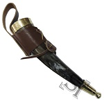 Brass Adorned Medieval Drinking Horn with Brown Leather Holder