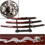 3-PC Samurai Sword Set Burgundy Color - Dragon Design