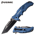 USMC Spring Assisted Pocket Knife Blue Handle