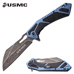 USMC Marines Spring Assisted Knife Pocket Knife Blue Handle