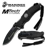 US Marines Folding Knife with 4MM Black Blade & ABS Rubber Handle