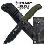 US Marines 12 Inch Semper Fi 5MM Thick Fixed Blade Knife - Green G10 Handle