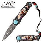 Native American Spring Assisted Folding Knife Blue Stone