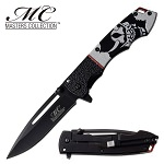 Masters Collection Spring Assisted Pocket Knife Devil Mask Handle