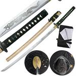 Hand Sharpened Carbon Steel Katana with Dragon Horimono Engraving