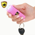 Mini Keychain Stun Gun LED Flashlight HORNET 6 Million Volt Pink Rechargeable
