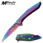 Mtech 7.75'' Rainbow Stainless Steel Manual Folding Knife