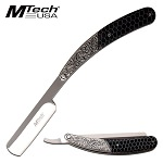 Mtech 4.75'' Straight Razor Folding Knife With Black C-tek Handle