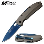 Mtech USA 7 Inch EDC Manual Pocket Knife Gray Aluminum Handle