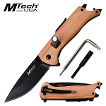 Mtech Multifunction Knife LED Firestarter Bottle Opener Allen Key Brown