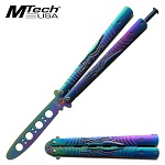 Butterfly Knife Trainer by Mtech Rainbow Spider Handle Butterfly Knife