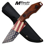 MTech USA Flag Fixed Blade Knife Brown Pakkawood Handle