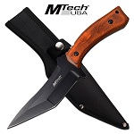 Mtech Tactical Knife Double Edge Fixed Blade Knife Brown Pakkawood