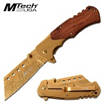 Mtech Gold Cleaver Blade Spring Assist Knife With Pakkawood Handle