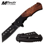 Black Cleaver Blade Spring Assisted Folding Pocket Knife Pakkawood Handle
