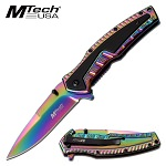 Mtech Rainbow Tinite Coated Spring Assist Folding Pocket Knife