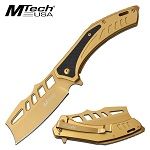 Mtech Cleaver Blade Knife Spring Assisted Knife Gold