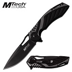 Spring Assist Pocket Knife Black/Grey Two Tone Aluminum Handle