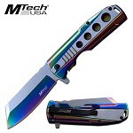 Mtech Pocket Knife Spring Assisted Knife Polished Rainbow Stainless Steel Knife