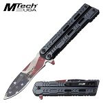 Mtech USA Flag Blade Assisted Opening Pocket Knife Blue Handle