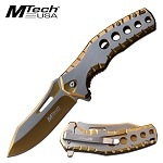 Mtech Five Hole Pocket Knife Gold Satin Spring Assisted Knife